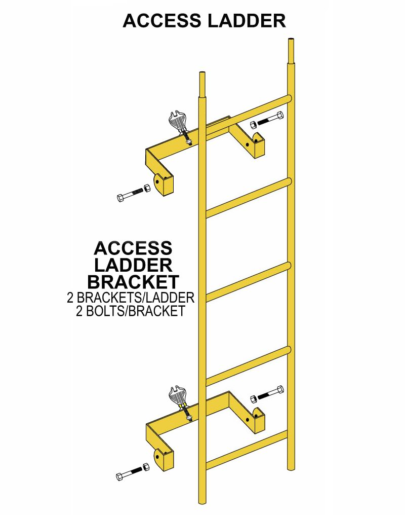 Steel Access Ladder and Ladder Bracket